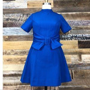 Dresses & Skirts - Vintage 1970s blue polyester buckle tie dress